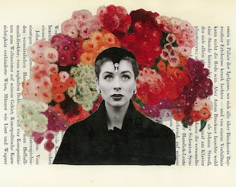5X7 Collectible Art Collage Print Floral Girl