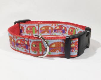 Caravans Collar  in red or blue, made in Scotland , printed ribbon, dogs, holidays