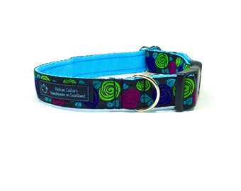 Flowers (3) collar,handcrafted , luxury dog collar, luxury dog leash to match available , dogs , pets, made in Scotland, Kelsae