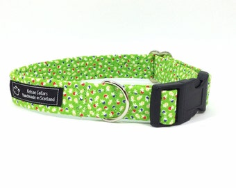 Katie Collar in Lime Green or Turquoise, floral, dog collars, pets, dogs, leash, handcrafted