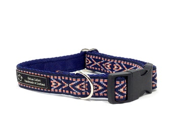 Coby Dog Collar in navy or beige, jacquard ribbon,handcrafted, luxury dog collar, luxury dog,dogs, pets,made in Scotland