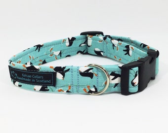 Skating Penguins dog collar,dog leash available to order, luxury dog collar, handcrafted, made in Scotland