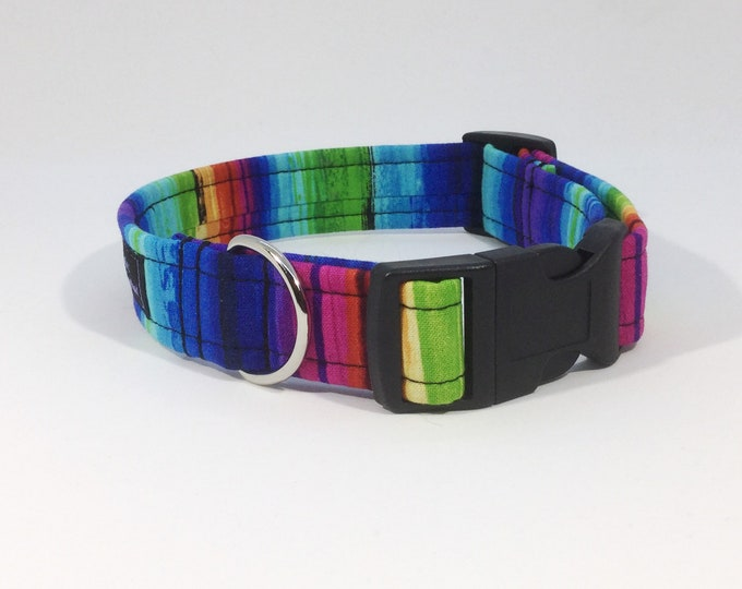 Featured listing image: Rainbow Collar, luxury dog collar, luxury dog leash, dogs, pets, striped, striped