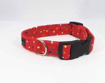 Spots on Red Collar, luxury dog collar, luxury dog leash, dogs, pets, spots, made in Scotland