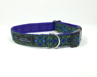 Four Leaf Clover Collar (2). handcrafted , luxury dog collar, luxury dog leash to match available , dogs , pets, made in Scotland, Kelsae