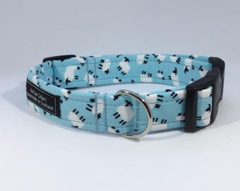 Black Faced Sheep Collar in Pink, Grey, Baby Blue or Sage Green,lambs,farm,cotton,luxury dog collar, luxury dog leash ,dogs, pets, sheep