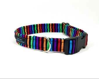 Stripes on Black Collar, luxury dog collar, luxury dog leash available, dogs, pets, stripes, made in Scotland
