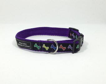 Bones Collar, handcrafted , luxury dog collar, luxury dog leash to match available , dogs , pets, made in Scotland, Kelsae Collars