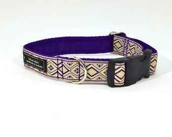 Glitzy Dog Collar, made in Scotland, handcrafted , jacquard ribbon, luxury, dog, pets, Lurex