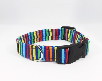 Stripes on Blue Collar, luxury dog collar, luxury dog leash, dogs, pets, stripes, made in Scotland
