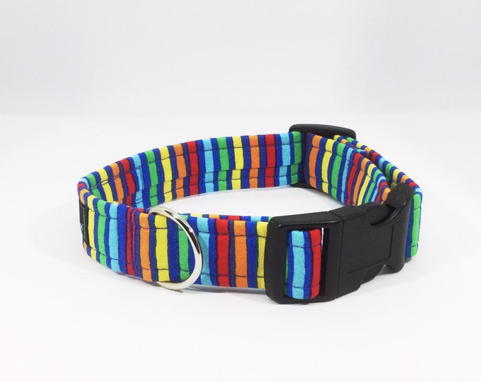 Featured listing image: Stripes on Blue Collar, luxury dog collar, luxury dog leash, dogs, pets, stripes, made in Scotland