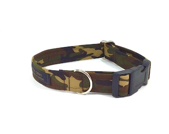 Camouflage dog collar in Brown, Green, Grey or Blue,luxury dog collar, Dogs, Pets, made in Scotland, camouflage