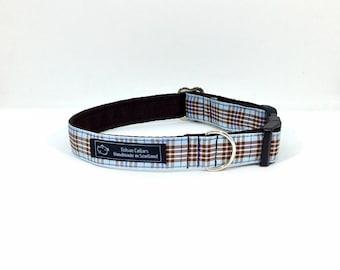 Blueberry collar, made in Scotland, Scottish clans, plaids, dogs, pets, tartan ribbon, blueberry tartan