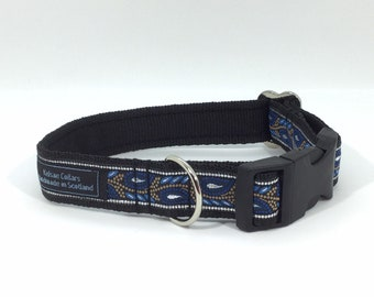 Navy Leaves Collar, handcrafted , luxury dog collar, luxury dog leash to match available , dogs , pets, made in Scotland, Kelsae Collars