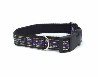 Purple Leaves Collar, handcrafted , luxury dog collar, luxury dog leash to match available , dogs , pets, made in Scotland, Kelsae Collars