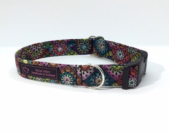 Granny Squares dog collar, made in Scotland, luxury dog collar, Dogs, Pets,