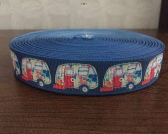 Caravans Lead in Blue or Red, printed ribbon,  caravan, holidays, made in Scotland
