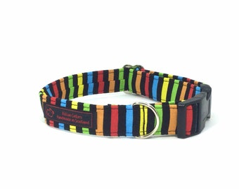 Stripes on Black Collar ( 2 ), luxury dog collar, luxury dog leash available, dogs, pets, stripes, made in Scotland