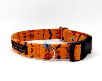 Wee Beasties dog collar,luxury dog collar, Dogs, Pets, made in Scotland, orange