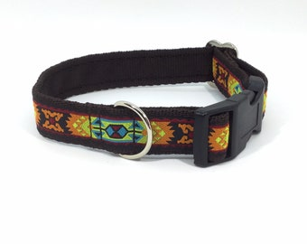 Bright Aztec Collar, handcrafted , luxury dog collar, luxury dog leash to match available , dogs , pets, made in Scotland, Kelsae Collars