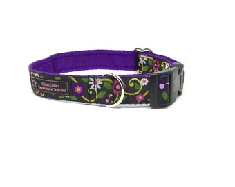 Flowers (2)collar,handcrafted , luxury dog collar, luxury dog leash to match available , dogs , pets, made in Scotland, Kelsae