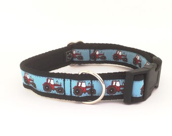 Red Tractors on Green, Grey or Blue, tractor, luxury dog collar, luxury dog leash, dog, pets, handcrafted, farm