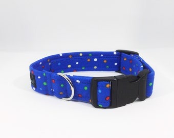 Spots on Blue Collar, luxury dog collar, luxury dog leash, dogs, pets, spots, made in Scotland