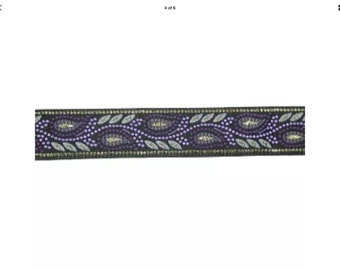 Purple Leaves Dog Lead , handcrafted , matching luxury dog collar to order, luxury dog leash, dogs , pets, jacquard ribbon, leaves