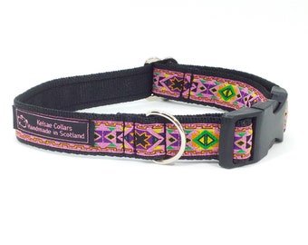 Beth Dog Collar, made in Scotland, handcrafted , jacquard ribbon, luxury, dog, pets