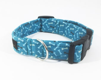Mini Bones in Blue Collar, luxury dog collars , luxury dog leash , dogs, pets, bones, handcrafted
