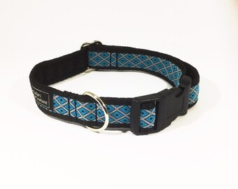Diamond Dogs Collar in blue or purple, luxury dog collar, luxury dog leash, dogs, pets, diamonds, geometric, handcrafted