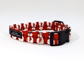 Snowmen Dog Collar,Christmas,dog collar,luxury dog collar,festive,made in scotland,