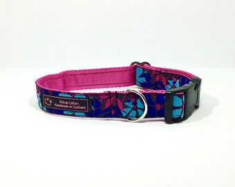 Flowers (1) collar,handcrafted , luxury dog collar, luxury dog leash to match available , dogs , pets, made in Scotland, Kelsae