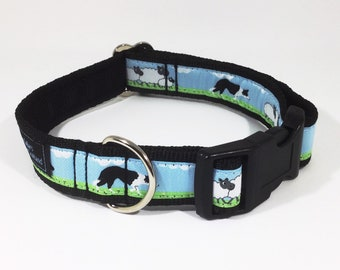 Black and White Border Collie Collar, sheep, lambs, farm, handcrafted , luxury dog collar, luxury dog leash, dogs , pets, Border Collie