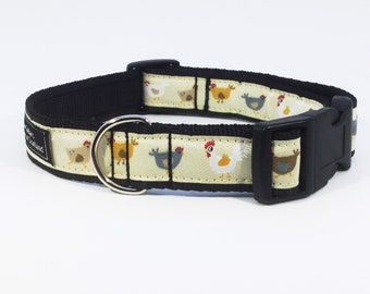 Chicken Parade Collar, made in Scotland, farmyard, luxury, handcrafted