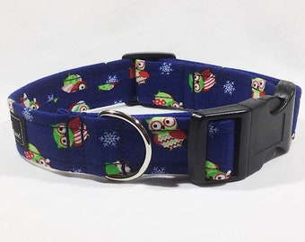 Christmas Owls Dog Collar,Christmas,dog collar,luxury dog collar,festive,made in scotland,owls