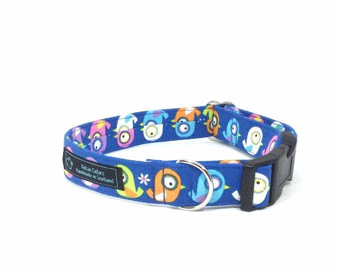 Featured listing image: Cheery Chicks collar, luxury dog collar, luxury dog leash available, dogs, pets, birds, made in Scotland