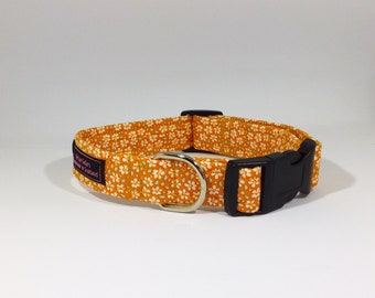 Lottie Collar in Lilac or Orange floral, dog collars, pets, dogs, leash, handcrafted