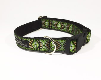 Inca Collar  Green,luxury dog collar, luxury dog leash, jacquard ribbon, dogs, pets, handcrafted