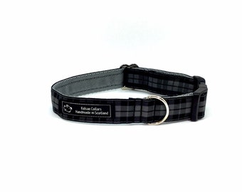Black and Grey tartan collar,made in Scotland, Scottish clans, plaids, dogs, pets, tartan ribbon, Scottish