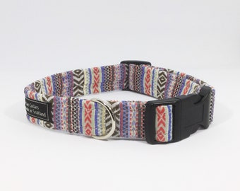 Brown Ikat Collar, luxury dog collar, luxury dog leash, dogs, pets, striped, Ikat, made in scotland