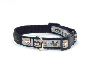 Countryside Capers Collar, handcrafted , luxury dog collar, luxury dog leash to match available , fox , pets, made in Scotland,deer, hare,