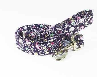 Flora Lead in Lilac, floral, dog collars, pets, dogs, leash, handcrafted