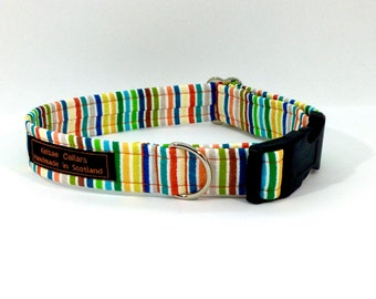 Stripes on Cream dog collar,luxury dog collar, Dogs, Pets, made in Scotland, many colours