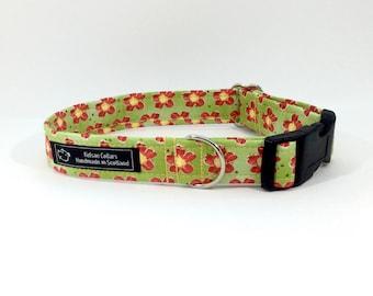 Dizzy dog collar,luxury dog collar, Dogs, Pets, made in Scotland, green, terracotta,flowers