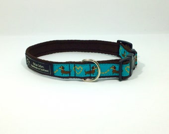 Blue Dachshunds Collar, handcrafted , luxury dog collar, luxury dog leash to match available , dogs , pets, made in Scotland, Kelsae Collars