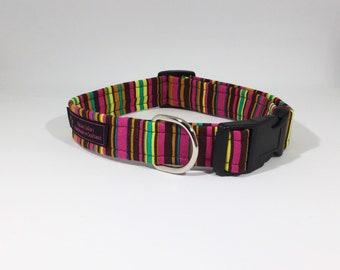 Stripes on Cerise Dog Collar,Cotton,Stripes,Dog collar,Dog Leash,Luxury Dog Collar,Luxury Dog Leash,pets,dogs