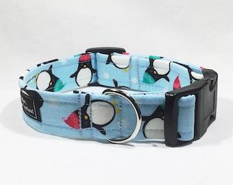 Christmas Penguins Dog Collar,Christmas,dog collar,luxury dog collar,festive,made in scotland,Penguin