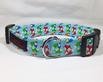 Foxes on blue collar, luxury dog collar , luxury dog leash available ,dogs, pets, handcrafted