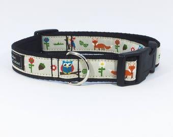 Forest Friends Collar, fox, owl, woodpecker, luxury dog collar , luxury dog leash , dog , pet , handcrafted